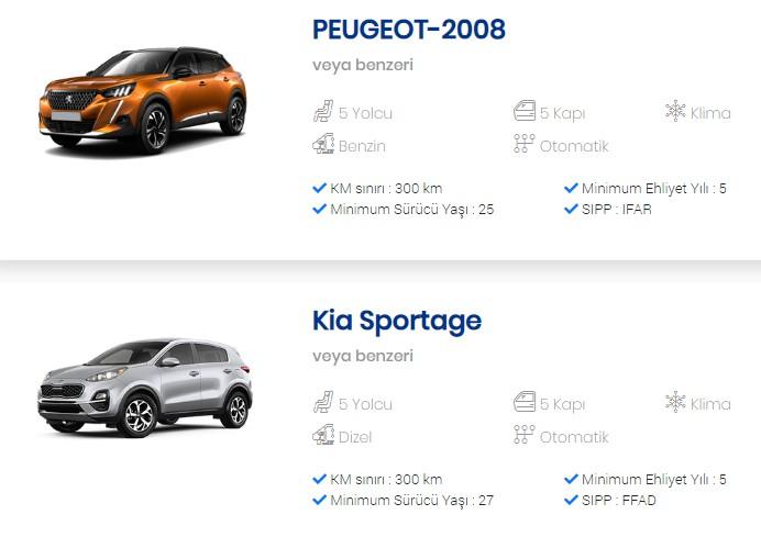 online araç kiralama araba seçimi