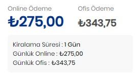 online araç kiralama fiyat görme